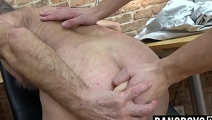 Working old man'_s ass hole and then letting him masturbate