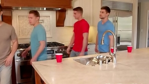 College roommates invite gym buddies for gay bareback orgy