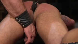 Ass reddened gay stud bound and spanked