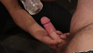 Hairy gay otter nipple clamped and blown
