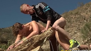 Bound slave fisted and anally fucked outdoors by master