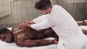Hot black muscle gay getting a massage &amp_ rimming