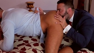 Studs in sexy suits fuck hard after powerful foreplay