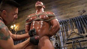 Hot bdsm hunk subjected to blue balling