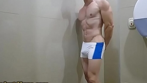 Sexy Hung Aussie Flex in Bulge  Spandex and Showers  - Zak Rogerz - Onlyfans