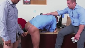 Hot office boss watches anal fucking