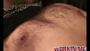Hairy mature homo masturbates on a chair and cums in buckets