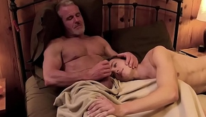 Stepson cant rest without grandpas cock up his ass