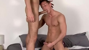 Hungry jock sucks cock before getting fucked hard