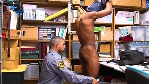 Straight Black Twink Caught Shoplifting Liquor Fucked By Gay Black Jock Mall Cop