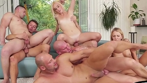Horny bisexual orgy gets hot and sweaty