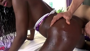 Busty black shemale gets fucked