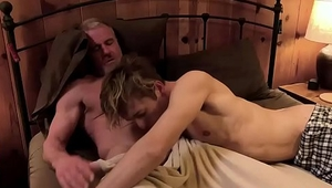 Old grandpa spreads his grandsons asscheeks and sticks his tongue deep in his asshole before brutally fucking this blonde twink!